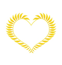 Beautiful Yellow Leaves in A Heart Shape vector image