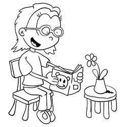 black and white little girl reading vector image