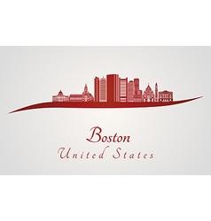 Boston skyline in red vector