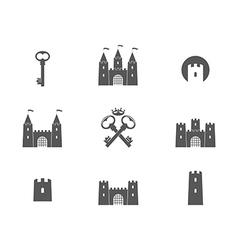 Castle icon set vector