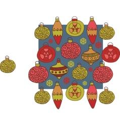 Christmas hand drawn decorative postcard with xmas vector image