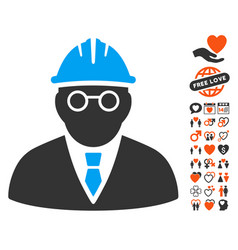Clever engineer icon with dating bonus vector