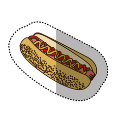 Color contour hot dog fast food icon vector