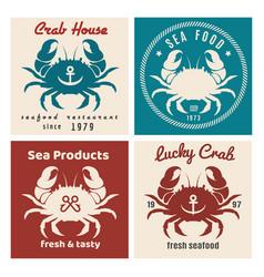 crab seafood shop or restaurant emblem set vector image