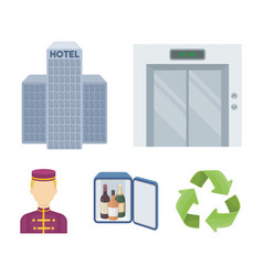 Elevator car mini bar staff buildinghotel set vector