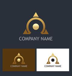 Gold omega triangle company logo vector