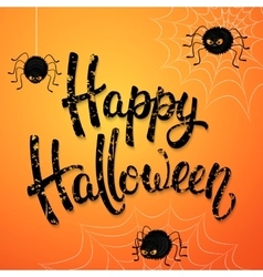 Halloween greeting card with angry spiders web vector image vector image