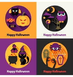 Happy halloween greeting cards in flat design vector image