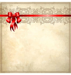 Holiday background with red ribbon on old paper E vector image