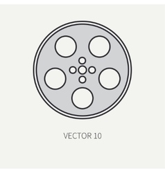 Line flat color icon elements of filmmaking vector image vector image