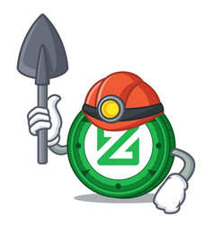 Miner zcoin mascot cartoon style vector
