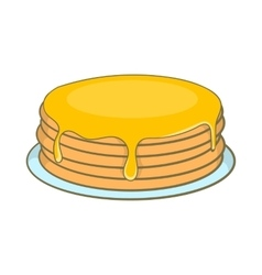 Pancakes with honey icon cartoon style vector image