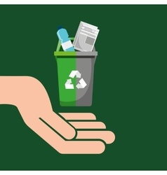 Recycling bin garbage selection icon vector
