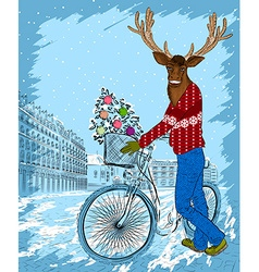 Reindeer cartoon sketch on a bike vector