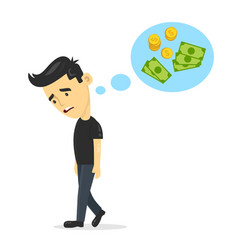 sad young guy without work dreaming vector image vector image
