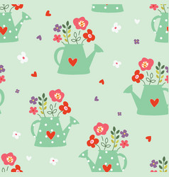 Seamless pattern with watering can and flowers vector