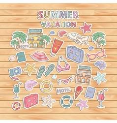 Summer vacation scrap setScrapbook setSticker vector image