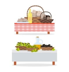 Table with bottle of wine and oil jug and baskets vector