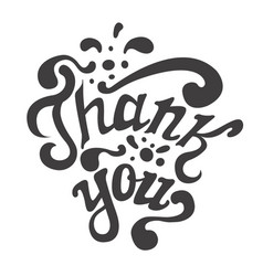 thank you hand drawn lettering calligraphy vector image vector image