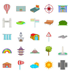 View icons set cartoon style vector