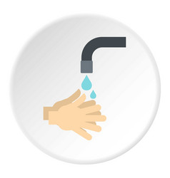 washing hands under running water icon circle vector image