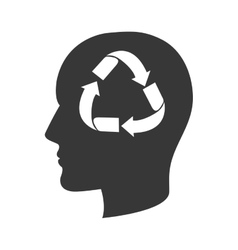 head profile with recycling sign vector image
