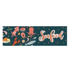 Sea food horizontal banner flat style seafood vector