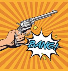 Gun revolver bang bubble design vector