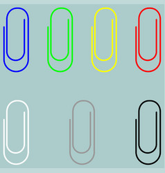 Clip blue green yellow red white grey black icon vector