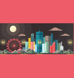 Flat style modern design of night city vector