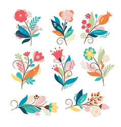 set of cute cartoon flowers vector image