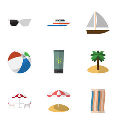 Flat icon summer set of yacht boat spectacles vector