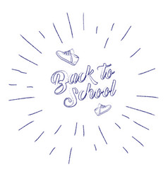 Back to school banner with sneakers and sunburst vector