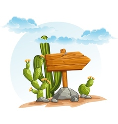 Wooden pointer with cacti in the desert vector