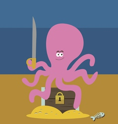Pink octopus and chest with gold vector