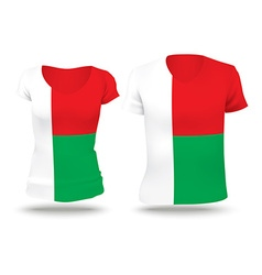 Flag shirt design of madagascar vector