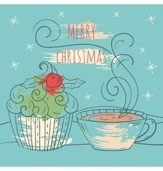 Merry christmas card winter vector