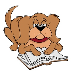Dog fluffy reading vector