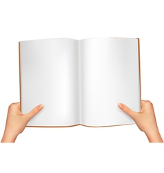 Hands holding open book vector