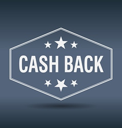 Cash back hexagonal white vintage retro style vector