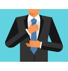 Man in suit is adjusting his tie colorful vector