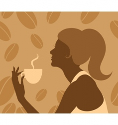 Lady drinking coffee vector
