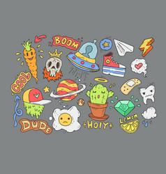 A set of cartoon stickers comic doodles cartoon vector