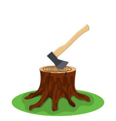 A tree stump with an axe stuck vector