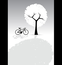 Bicycle and tree bw vector