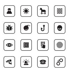 Black flat security icon set vector