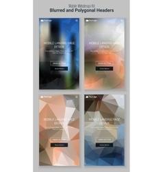 Blurred polygonal mobile landing page kit vector