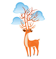 bright orange fairy deer with clouds on the horns vector image