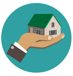 businessman holding in hand a house vector image vector image