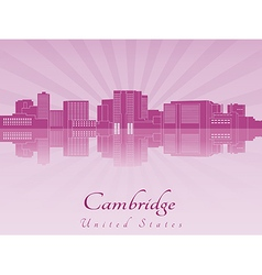 Cambridge skyline in purple radiant orchid vector image vector image